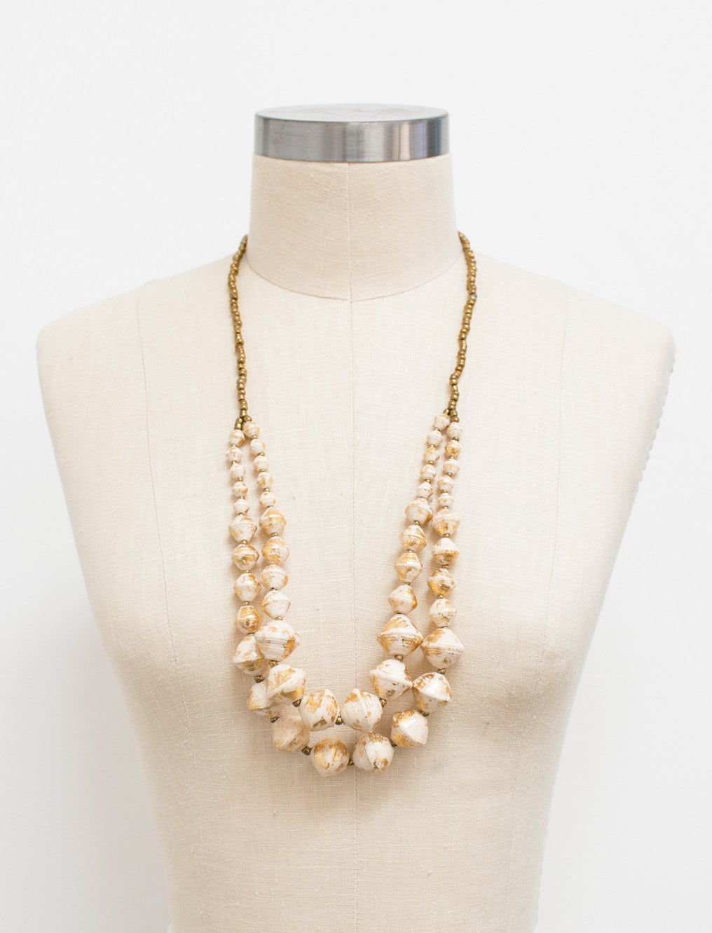 The Voyager Necklace - Cream Gold
