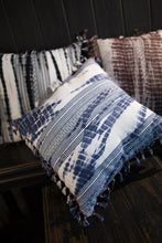 Tie Dye Embroidered Pillow Cover With Tassels - Blue