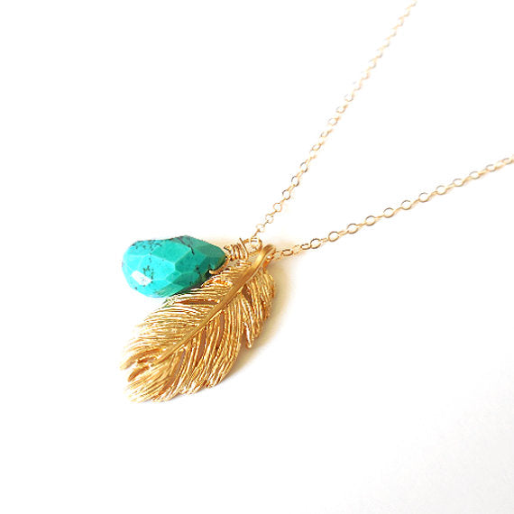 Gold Feather Turquoise Necklace