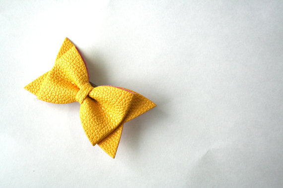 Yellow Faux Leather Bow Clip