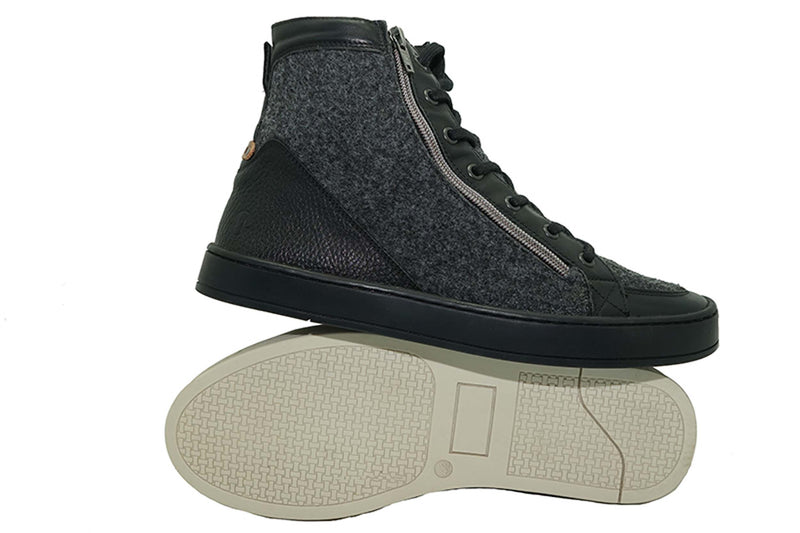 The Walrus: Upcycled Felted Wool & Leather Mid Top Boot
