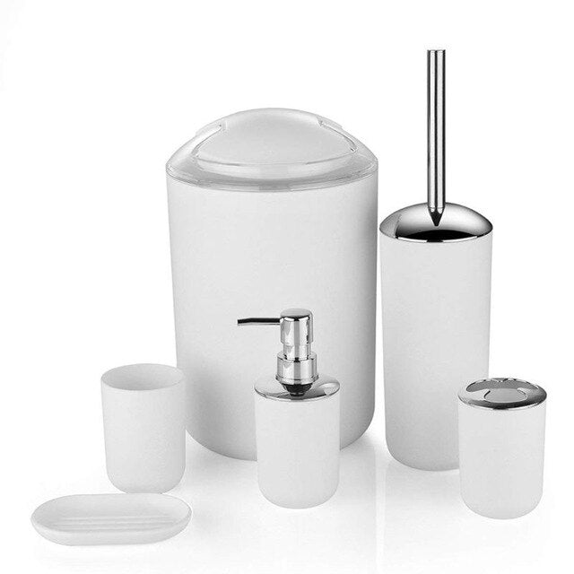 6-piece bathroom accessory set with a variety of color options.(Free Delivery)