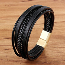Fashion Stainless Steel Charm Magnetic Black Men Leather Bracelet