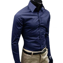 Business Men Casual Solid Color Long Sleeve Button Down Slim  Shirt