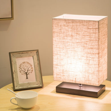 Modern Simple Rectangular Table Lamp Wooden Base Bedroom Bedside (Free Delivery)