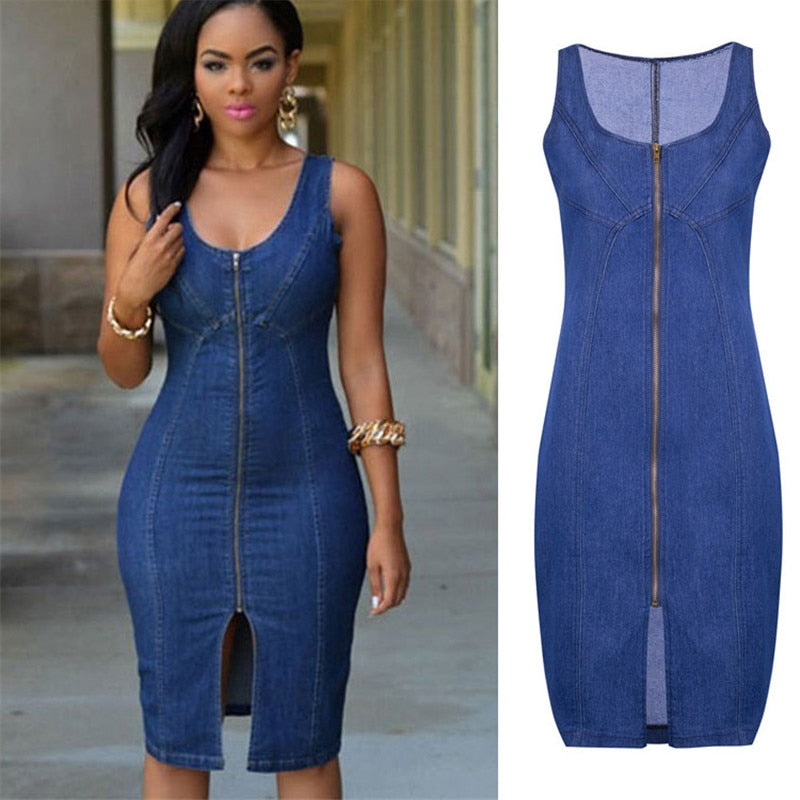 Women's Summer Sleeveless Denim Dress (Free Delivery)