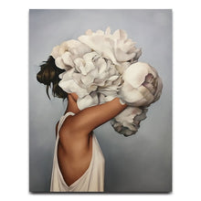 Nordic Modern Floral Feather Woman Abstract Fashion Style Canvas