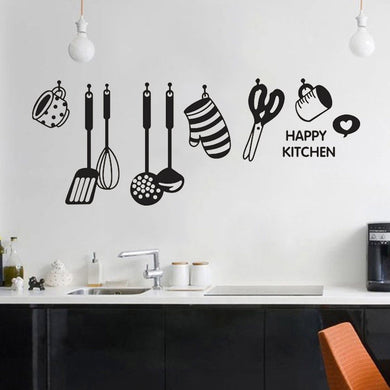 Kitchen Vinyl Wall Stickers Fun Design Cook Utensils