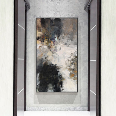 Abstract Black and White Modern Wall Art Canvas Painting (Free Delivery)