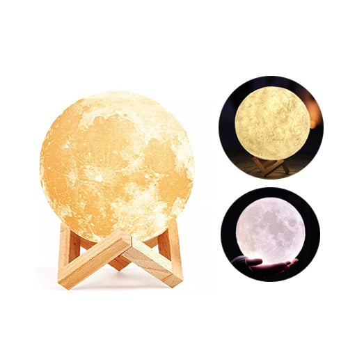 Rechargeable 3D Print Moon Lamp LED Luminaria Table Lamp (Free Delivery)