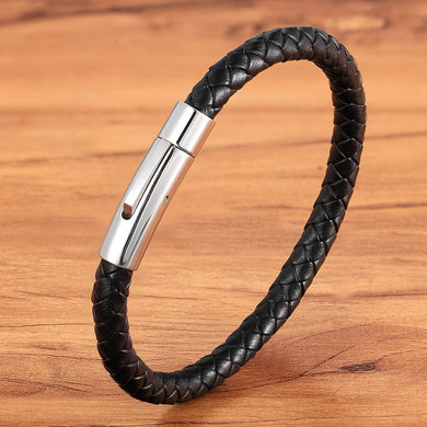 Men's Leather with stainless steel Bracelet