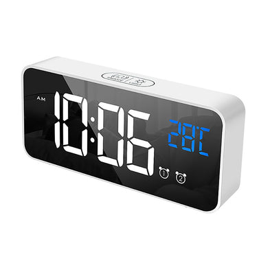 Home Bedroom Living Room Rechargeable Bedside Music Clock LED Mirror Alarm (Free Delivery)