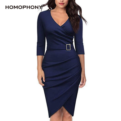 Women Office V Neck Sexy Dress  (Free delivery)