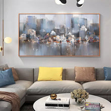 City Building Rain Boat  Abstract Oil Painting On Canvas (Free Delivery)