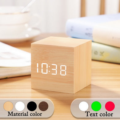 Small Square Digital Wooden LED Alarm Clock (Free Delivery)