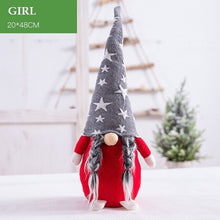 Cute Christmas Long Grey Cap Faceless Doll Figurine Ornament (Free Delivery)