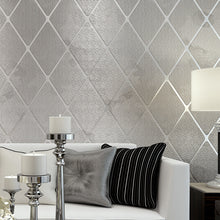 Modern Diamond Lattice Stripe Non-Woven 3D Embossed Bedroom Wallpaper (Free Delivery)