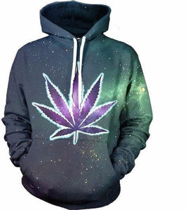 Green And Purple Weed Leaf Hoodie