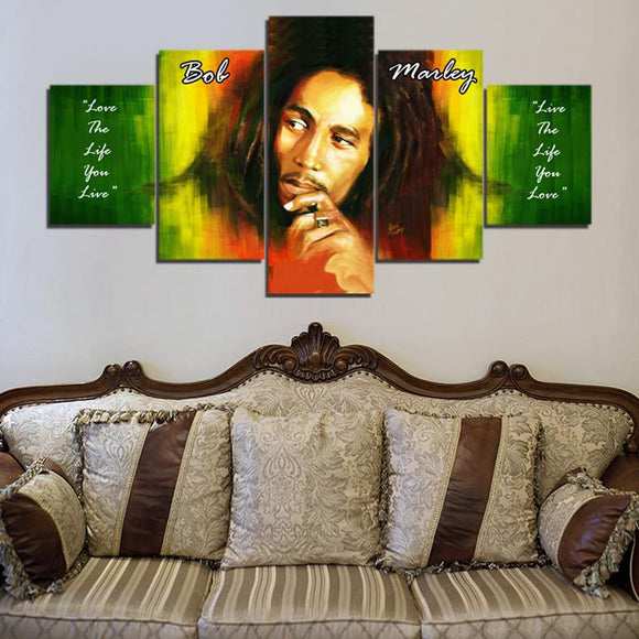 5 piece canvas Bob Marley Wall Art