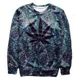 Crew Neck With Black Weed Leaf - StonerStyle