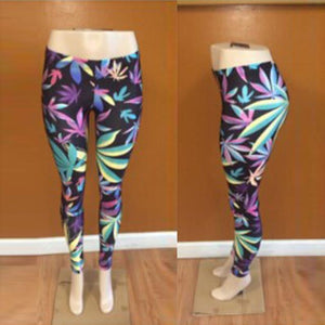Light Colored Weed Leaf Leggings - StonerStyle