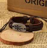Leather Bracelet with Weed Charm