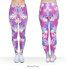 Pink Blue and White Weed leaf print leggings