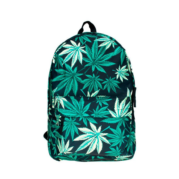 Black With Green Weed Leaf Backpack - StonerStyle