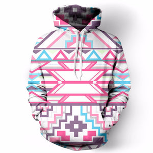 Pink and Blue Patterned Hoodie