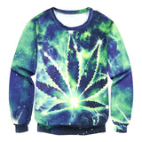 Blue and Green Galaxy Weed Leaf Crewneck