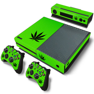 Light Green With Black Weed Leaf Xbox 1 Cover