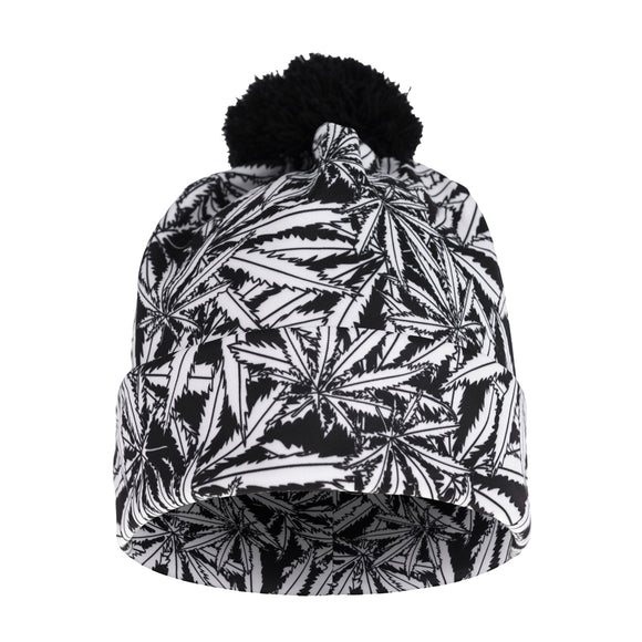 Gray Weed Leaves Beanie