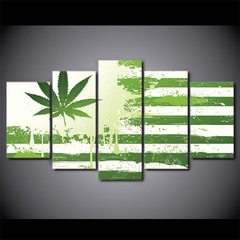5 Piece Canvas Art Weed With American Flag