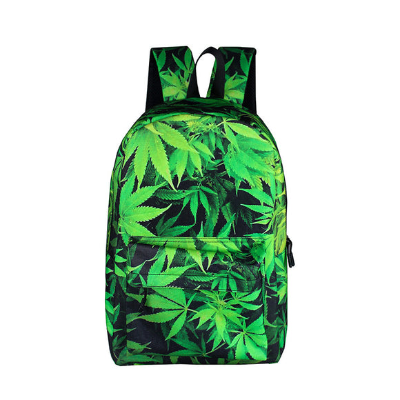 Green Weed Leaf Backpack