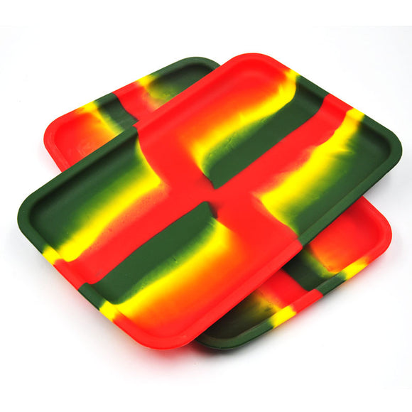 Rasta Colored Silicone Rolling Tray