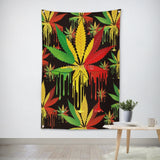 Weed Leaves Reggae Flag