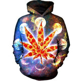 Pizza Weed Leaf Hooded Galaxy Hoodie