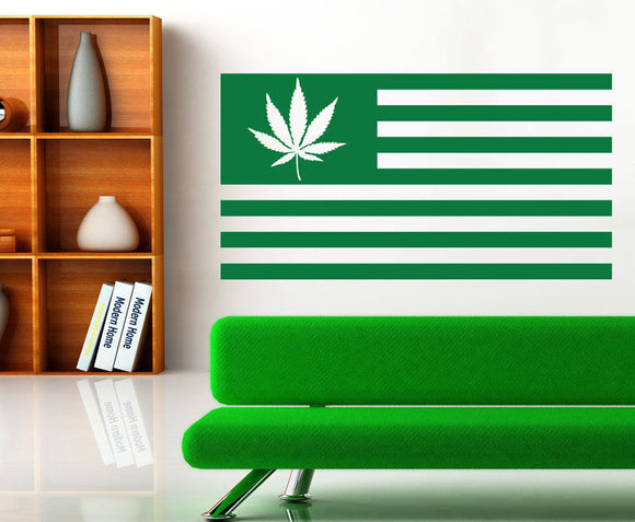 High Quality Vinyl USA Weed Flag Wall Decal