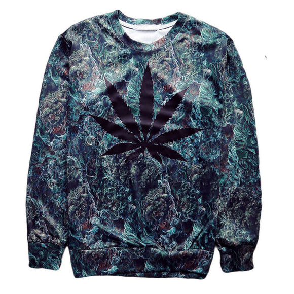 Crew Neck With Black Weed Leaf