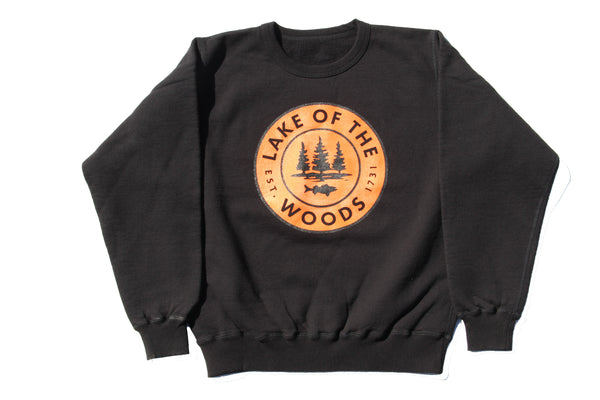 Black LOTW Gear crewneck sweatshirt with orange and black logo