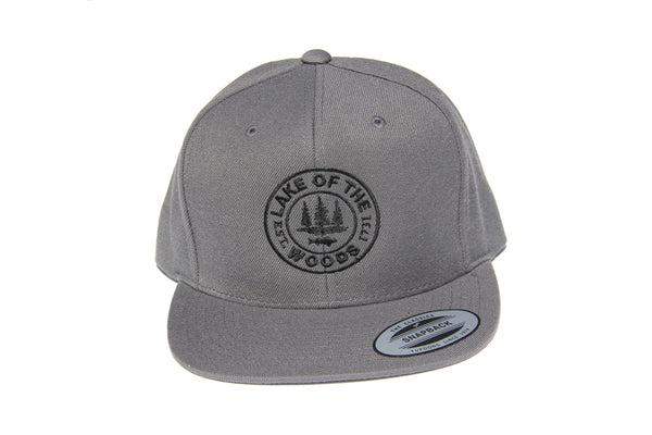 Front view of grey LOTW Gear snapback baseball hat with black embroidered logo