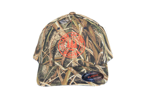 Front view of LOTW Gear camo flexfit baseball hat with orange embroidered logo