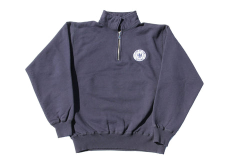 Navy Blue LOTW Gear quarter zip pullover sweater with white and blue embroidered logo