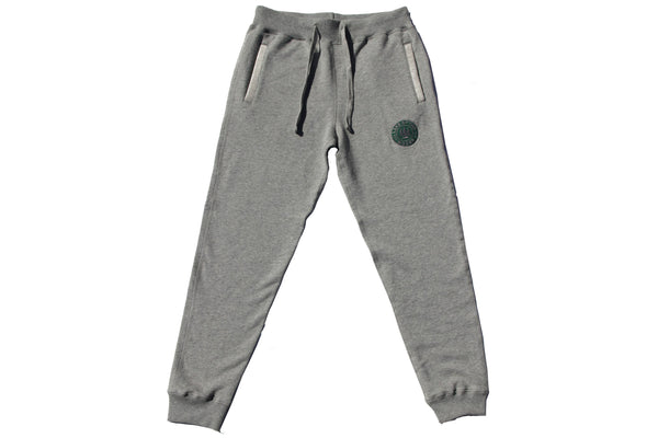 Grey LOTW Gear fitted sweatpants with green and grey embroidered logo