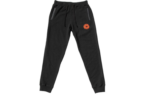 Black LOTW Gear fitted sweatpants with orange and black embroidered logo