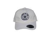 Front view of white LOTW GEAR dad hat with navy blue embroidered logo