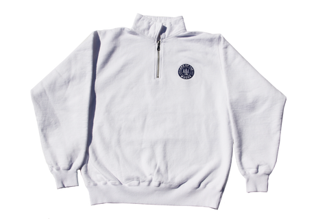 White LOTW Gear quarter zip pullover sweater with blue and white embroidered logo