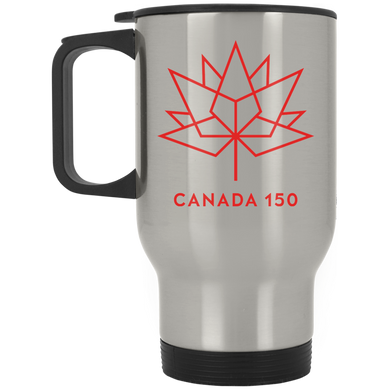 Canada 150 Red Maple Leaf Silver Stainless Travel Mug