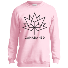 Canada 150 Black Maple Leaf Youth Crewneck Sweatshirt