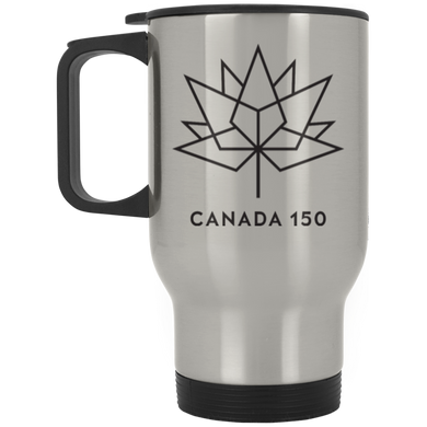 Canada 150 Black Maple Leaf Silver Stainless Travel Mug